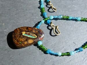 Necklace Gold 18 CT, 1 Opal Boulder,Diopside Chrome,Apatite