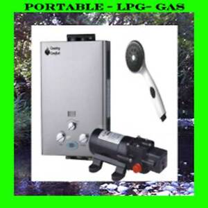 Country Comfort LPG Gas Hot Water Heater Portable Combo Camping + Bonus Pump
