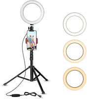 "6""Selfie Makeup Ring  LED light With Tripod Stand &Cell Phone Holder For Live Vi"