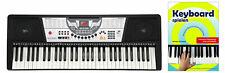 Super Keyboard mit 61 Tasten & Demofunktion, für Anfänger inkl. Notenheft, Black