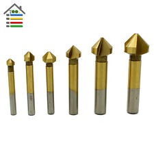 6pc 3 Flute HSS Titanium Chamfer Chamfering End Mill Cutter Bit Countersink Set