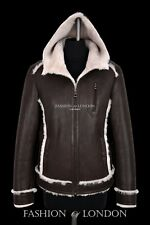 Men's Shearling Sheepskin Jacket Real Lamb Fur Classic Aviator Hooded B3 Jacket