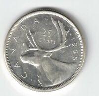 CANADA 1956 TWENTY FIVE CENTS QUARTER QUEEN ELIZABETH II .800 SILVER COIN