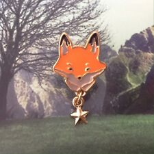 Fox BROOCH with star dangle, Enamel pin, Animal jewellery, Foxy fun jewelry
