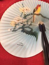 Vintage People's Republic of China Paper Metal Folding Hand Fan Floral & Bird