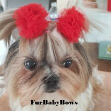 New listing 20 Big Pom Pom Pet Puppy bows Yorkie Dog Puppy Grooming w/Rubber Bands
