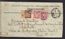 FRANCE EGYPT 1923  COVER CAIRO TO PARIS ROYAL EGYPT GEOGRAPHIA TAXE LETTRE