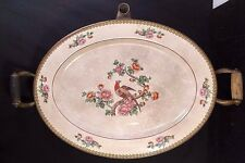 Vintage 1910 Buffalo Co Copper Porcelain Warming Server Dish Tray Platter Handle