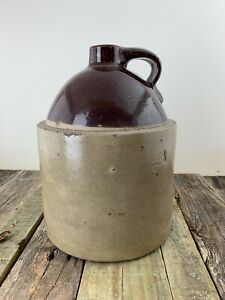 RARE Antique Red Wing 1 Gallon Whiskey Jug Crock No Mark.  Stamped Bottom