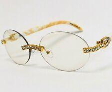 Men Clear Lens Eye Glasses Gold Metal Diamond Ice Cristal Bling HOT Sunglasses