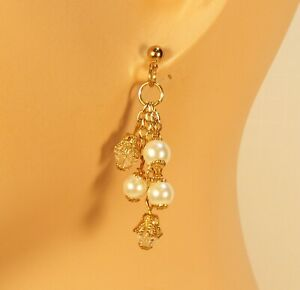 Crystal Drop White Glass Pearl and Crystal on Chain Earrings post Golden e3