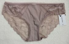 "NWT Calvin Klein QF1872 ""Linger"" Nylon w/ Lace Bikini, Beige Taupe (251), Size M"