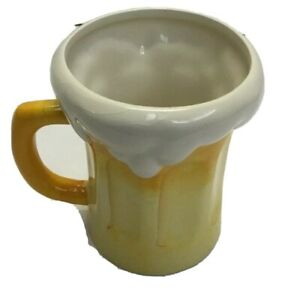 "Pier 1 Imports Beer Mug Design w/Frothy Foam Mug Yellow/White Porcelain 4-3/4"""