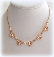 $88 GIVENCHY ROUND MARQUIS CRYSTAL BIB COLLAR FRONTAL NECKLACE ROSE GOLD TONE