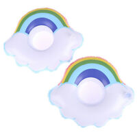 1 Pcs Inflatable Floating Rainbow Clouds Drink Cup Holder for Pool Swim Ring  FT