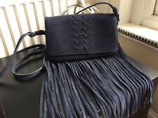 NINE SAVANNAH MILLER BLUE 100% SUEDE LEATHER SMALL SHOULDER FRINGE BAG ♡♡♡