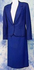 PENDLETON 2pc COBALT BLUE ViRGiN WOOL DRESS JACKET BLAZER SKiRT SUiT sz 12-28w