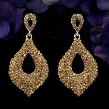 18K Gold Plated GP Golden Crystal Rhinestone Drop Chandelier Dangle Earrings 015