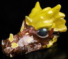 "5.6"" MOOKAITE JASPER Carved Crystal Dragon Skull, Crystal Healing"