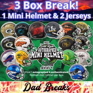 ATLANTA FALCONS Signed Gold Rush Mini Helmet + 2 Autographed Jerseys 3 BOX BREAK