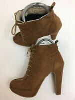 WOMENS NEW LOOK BROWN FAUX SUEDE LACE UP HIGH HEEL ANKLE BOOTS SHOES UK 4 EU 37