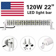 "120W 22"" Cree Led Spot Flood Combo Beam 10-30V Light Bar Offroad 4×4 Jeep White"