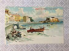 Italy, Napoli, Via Partenope e Castel dell'Ovo Artist Signed Original  Postcard