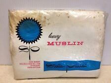 Vintage Bed Sheet State Pride Luxury White Muslin Flat Double Full Size NIP
