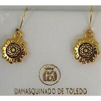 Damascene Gold Round Star Design Drop Earrings by Midas of Toledo Spain