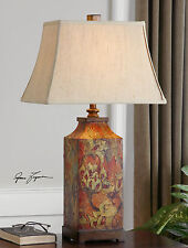 """32"""" COLORFUL FLORAL PRINT TABLE LAMP WITH IVORY LINEN SHADE READING LIGHT"""