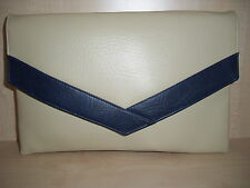 OVER SIZED CREAM AND NAVY BLUE faux leather envelope clutch bag, fully lined BN