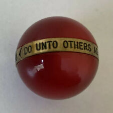 """CAT'S EYE RED MARBLE Golden Rule on Gold Tone Band """"Do Unto Others"""" VINTAGE EUC"""