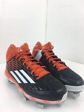 Adidas Iron Skin Men 10.5 US High Top Orange Black Striped Football Sport Cleats