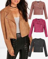 Women Ladies Faux Suede Biker Jacket Zip Stud  Bomber Coat Brown Black 8-16 UK
