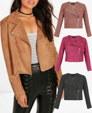 Women Ladies Faux Suede Biker Jacket Zip Stud  Bomber Coat Brown Black 8-16 UK