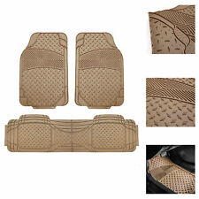 3pc Rubber Floor Mat for Auto Trimmable All Weather Beige