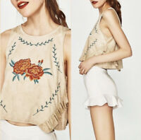 Zara Tan Faux Suede Floral Embroidered Women's Sleeveless Crop Top Size Large