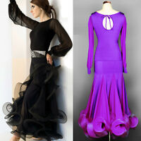NEW Latin salsa tango rumba Cha cha Ballroom Dance Dress top&skirt#FM098