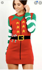 Womens Ladies Knitted Christmas Jumper Dress Size 16/18 Bodycon Fitted Christmas