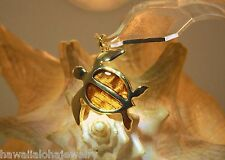 33.5mm Hawaiian 14k Gold Plated On Brass Genuine Inlaid Koa Wood Turtle Pendant