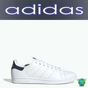 adidas Originals Men's Size 10.5 Stan Smith Vegan Shoes White/Navy FU9611