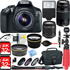 T6 Canon EOS Rebel DSLR Wi-Fi Camera EF-S 18-55mm IS + 75-300mm Lens 16GB Bundle