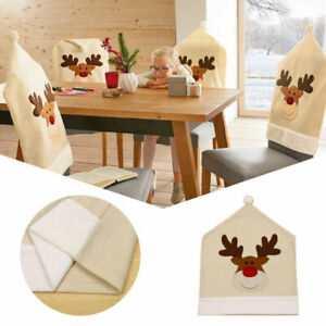 Christmas Elk Embroidered Dining Room Chair Covers Slip Seat Cover Home Decors