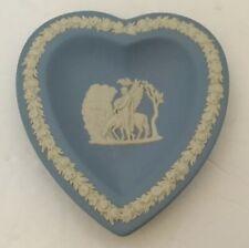 Vintage Wedgwood Blue Jasperware Pegasus Man Heart Shape Trinket Pin Coin Dish