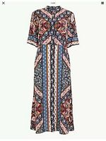 BNWT M&S Multicoloured Scarf Print Long Shirt Dress SIZE 10 Short Sleeve