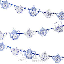 Blue Porcelain Style TEAPOT BUNTING -Tea Party Banner/Garland-FULL RANGE IN SHOP