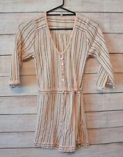 SPELL playsuit Sz small pink peach grey striped shorts playsuit