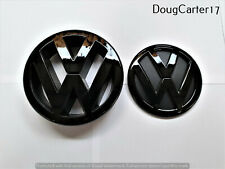 VW POLO MK4 9N3 2007 - 2009 GLOSS BLACK BADGE/EMBLEM FOR BONNET & BOOT OEM FIT