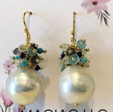 Baroque Pearl Pierced Earrings With Blue Clusters New