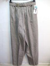 Vintage Womens Dress Pants Beige High Waist belted trouser M Medium pleat front